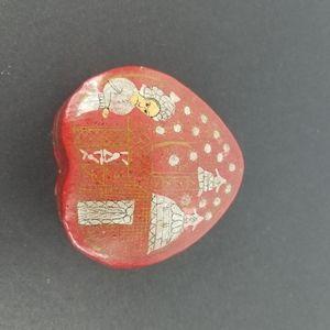 Vintage paper mache red heart Shaped Trinket box